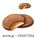 Chocolaty coating covered cookies layered with cream and peanut butter 50097364