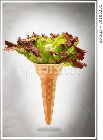 Delicious ice cream cone with salad taste 50100201