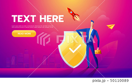 Businessman Protecting business With Shield. Business Concept Cartoon Illustration 50110089