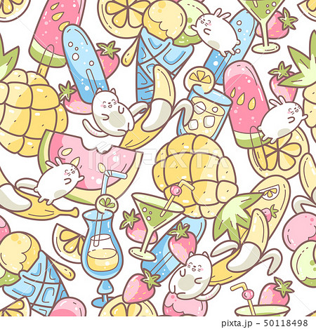 Kawaii cute seamless pattern with summer sweet food, ice-cream, fruits and coctails and funny 50118498