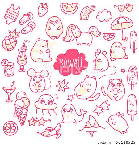 Kawaii cute collection of super cute animals jellyfish, panda, bear, pony, penguin, fur seal, seal 50118525