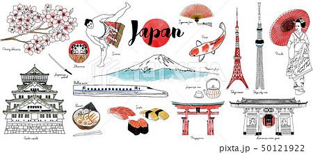 日本水彩イラストセット 50121922