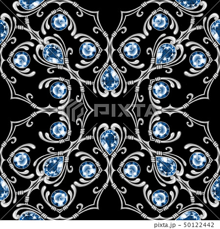 Silver jewelry seamless pattern with gems 50122442