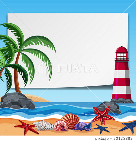 Border template with lighthouse and shells 50125885