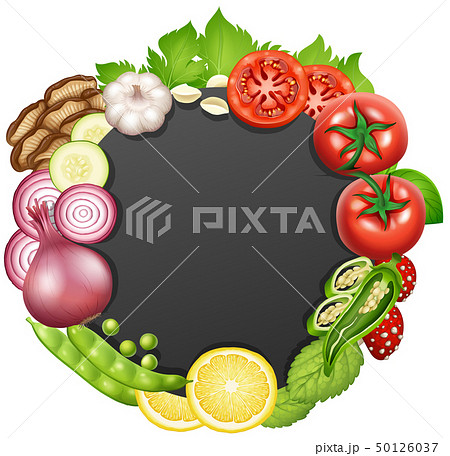 Border template with different types of vegetables 50126037