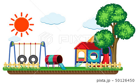 Scene with swing and playhouse 50126450