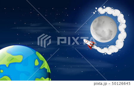 Earth and moon space scene 50126645