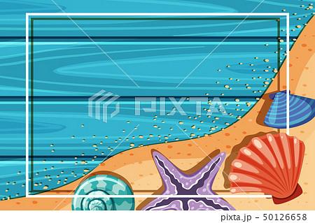 Border template with starfish and seashells 50126658