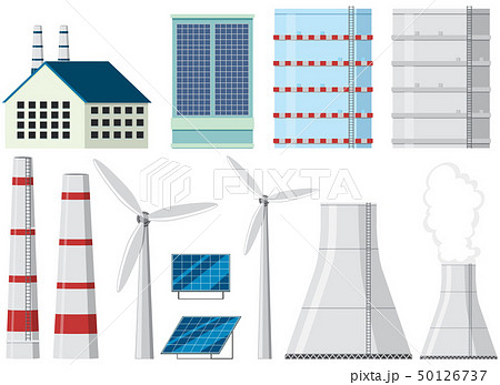 Different design of factory buildings and chimneys 50126737