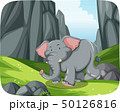Elephant running in nature scene 50126816