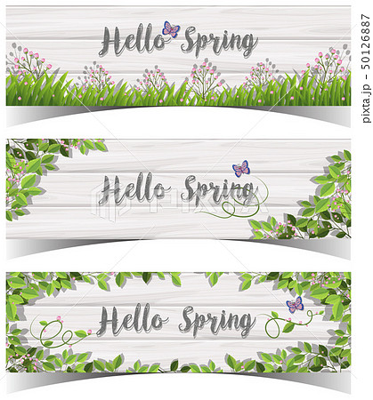 Hello Spring sign with flowers and butterfly 50126887