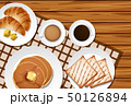 Different menu for breakfast on wooden table 50126894