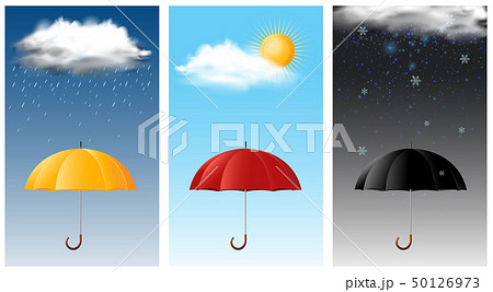 Three sky scenes with different weathers 50126973