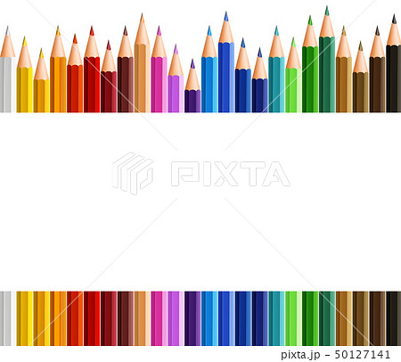 Border template with colorful pencils 50127141