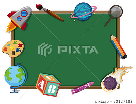 Border template with school items 50127183