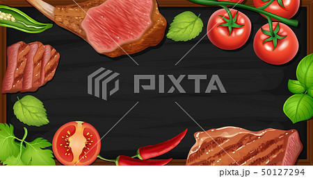 Border template with meat and vegetables 50127294