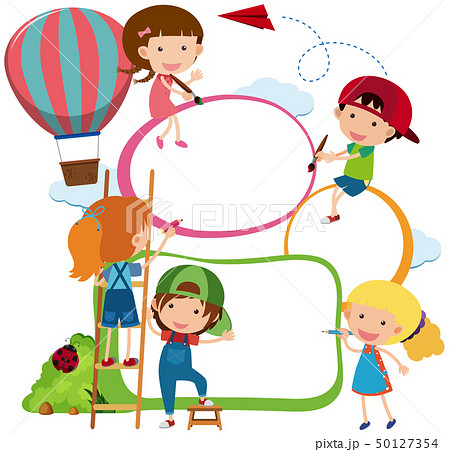 Border template kids drawing and painting 50127354