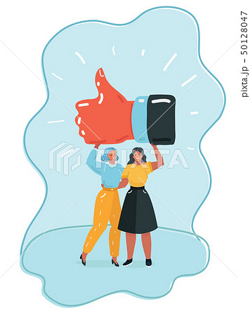Happy young woman holding gesturing thumbs up. 50128047