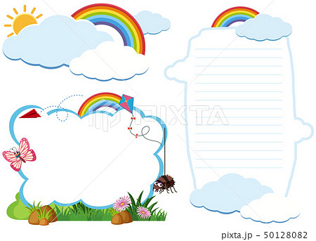 Two border template with bugs in garden 50128082