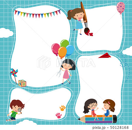 Border template with kids in the sky 50128168