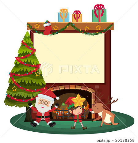 Border template with santa and elf by the 50128359