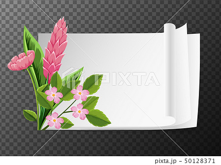 Border template with pink flowers 50128371