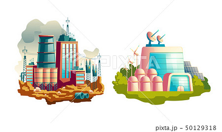 Modern and future power plants cartoon vector 50129318