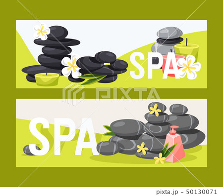 Spa stone vector zen stony therapy for beauty health and relaxation illustration backdrop set of 50130071