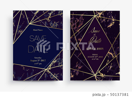 Two Save the Date card template. Geometric design. 50137381