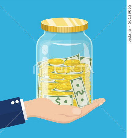 hand saver with glass jar and coins money 50139065