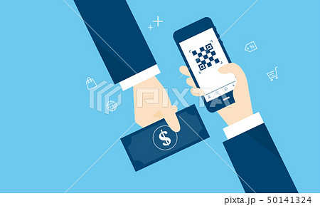 QRコード決済と現金のイメージ 50141324