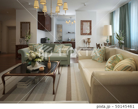 Living room in a neoclassical style 50145461