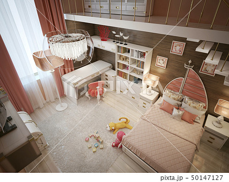 Luxury children's room in the Art Nouveau style 50147127