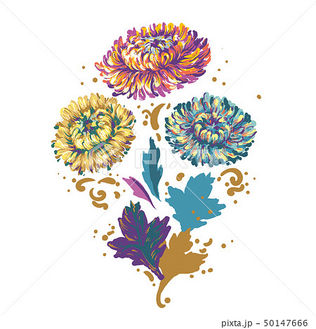 Bouquet of flowers blue, yellow and purple asters isolated on white background. Vector cartoon 50147666