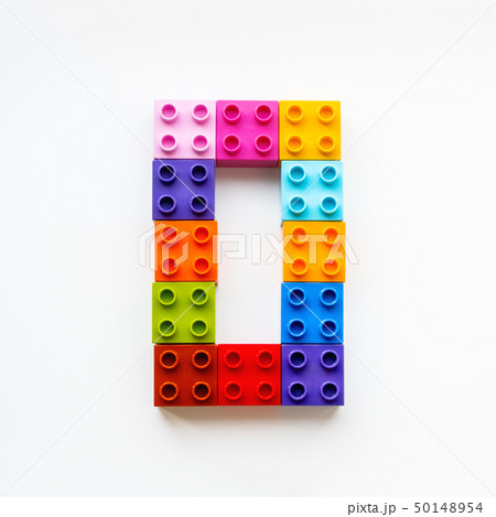 Number Zero made of colorful constructor blocks. 50148954
