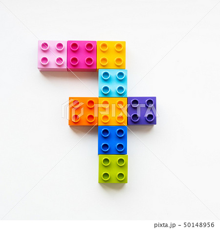 Number Seven made of colorful constructor blocks. 50148956