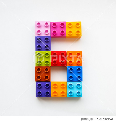Number Six made of colorful constructor blocks. 50148958