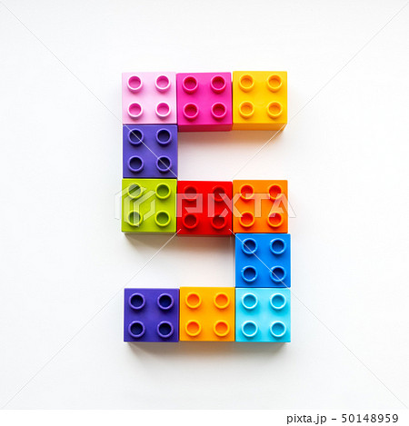 Number Five made of colorful constructor blocks. 50148959