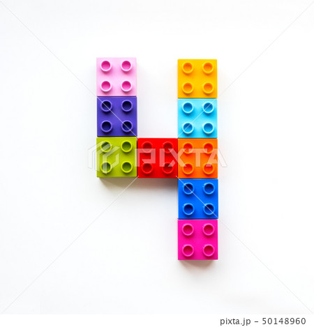 Number Four made of colorful constructor blocks. 50148960