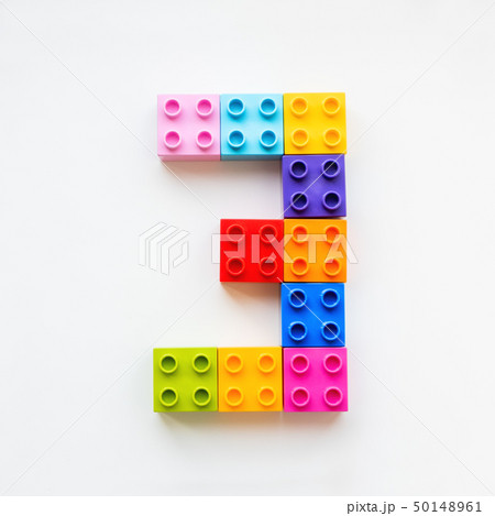Number Three made of colorful constructor blocks. 50148961