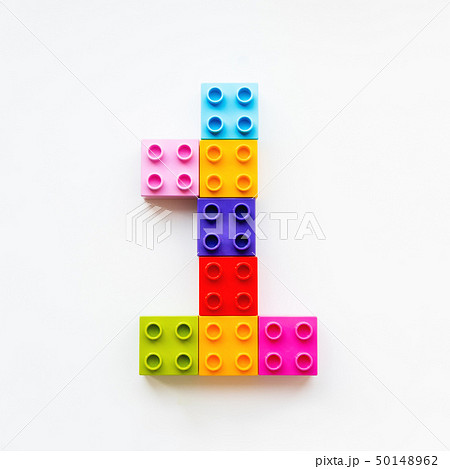 Number One made of colorful constructor blocks. 50148962