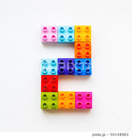 Number Two made of colorful constructor blocks. 50148963