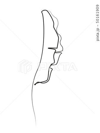 One line drawing. Contour drawing of Banana leaf. 50161909