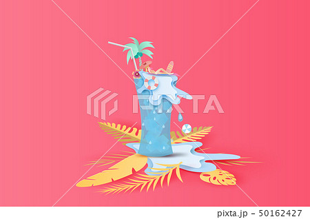 3D Paper art and craft of illustration Tropical 50162427