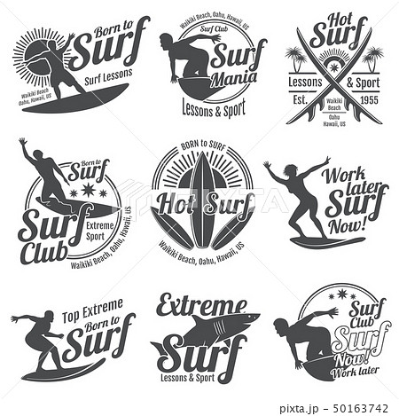 Summer surfing sports vector logos collection with surfer, surf board and ocean wave 50163742