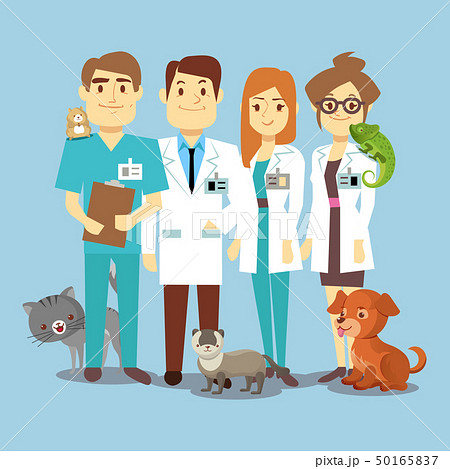 Flat veterinarians staff with cute animals 50165837