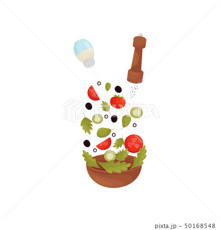 Pour salt, pepper, herbs, olives, tomatoes, cucumbers in the bowl. Vector illustration. 50168548