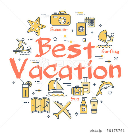 Colorful icons in summer best vacation theme 50173761