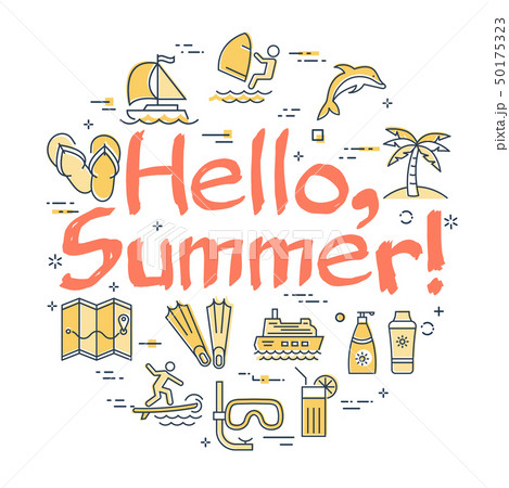 Colorful icons in hello to summer theme 50175323