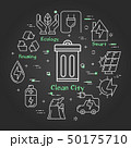 Vector linear banner of clean city - garbage can 50175710